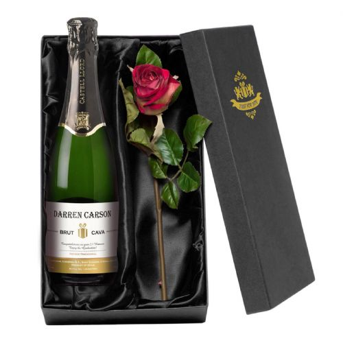 Personalised Contemporary Cava with a Rose Giftpack